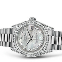 Rolex Datejust 31 Watch: 18 ct white gold with lugs set with diamonds - 178159