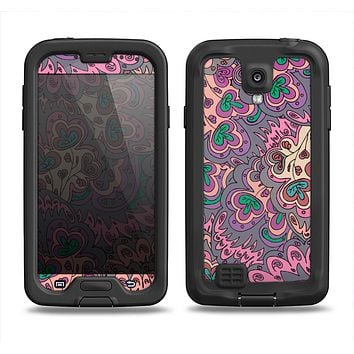 The Purple, Green, and Blue Vector Floral Pattern Samsung Galaxy S4 LifeProof Nuud Case Skin Set