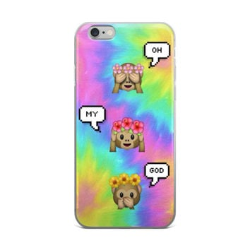 Oh My God Flower Crown Monkey Emoji Teen Cute Girly Girls Tie Dye Yellow Green Blue Pink & Sky Blue iPhone 4 4s 5 5s 5C 6 6s 6 Plus 6s Plus 7 & 7 Plus Case