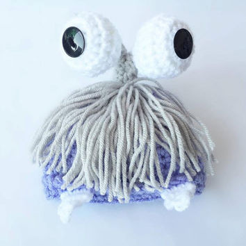 Crochet Monsters Inc Boo photo prop Hat - Boo Beanie - Boo Crochet hat - Monsters Inc Boo Beanie - Newborn photo prop hat - halloween - hat