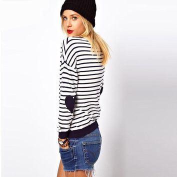 Women's Red Striped Jumper With Heart Elbow Patch Women Long Sleeve Sweaters Casual Knitted Pullovers Simple Elegant