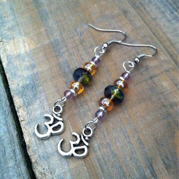 Beaded Ohm Earrings - Ohm symbol Earrings - Ohm Charm Earrings, Czech Glass Earrings - Om Earrings