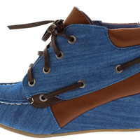 PADDY03 BLUE DENIM LACE UP BOAT WEDGE BOOT