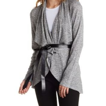 Black/White Faux Leather-Belted Cascade Cardigan by Charlotte Russe