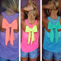 Cute bow chiffon shirt