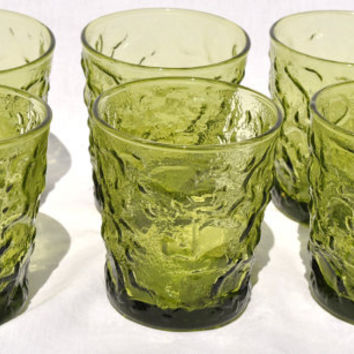 Vintage Anchor Hocking Lido Milano Avocado Tumblers Set of 6  Green Crinkle Glassware