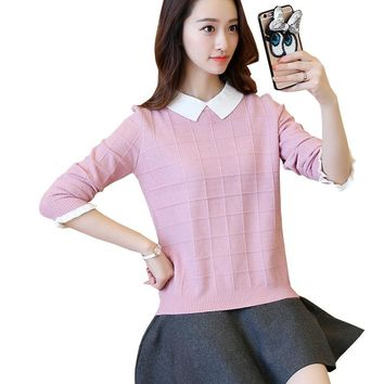 2018 New Autumn Winter Fashion Women Pullover Fake Two Pieces Shirt Collar Knitted Sweaters Casual Loose Jumper Tops