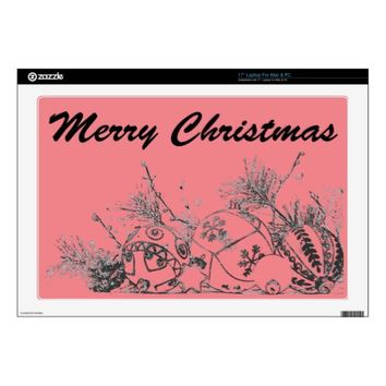 "17"" Laptop Skin (Mac & PC) - Christmas Baubles"