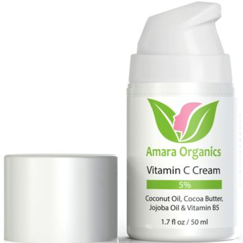 Vitamin C Cream for Face With Coconut Oil, Cocoa Butter, Jojoba Oil & Vitamin B5 - 1.7 oz
