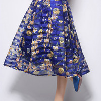 Blue Floral Striped Pleated Mid Skirt
