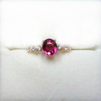 Engagement Ring - 1.9 Carat Pink Tourmaline Ring With Diamonds In 14K Rose Gold