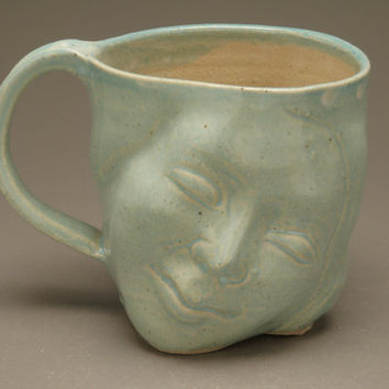 Face Mug Sky Blue Smile Happy Head Cup Figure Sculpture
