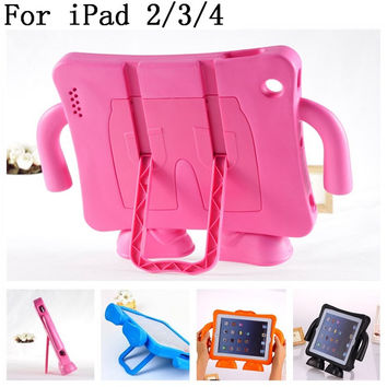 For iPad 4 case EVA Foam Shockproof Case for iPad 2 3 Funda Coque Children Kids Handle Stand Protective Cover Drop Resistant
