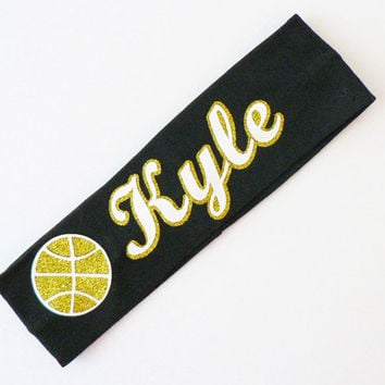 Personalized Basketball Headband, Custom Sport Headband, Stocking Stuffer, Glitter Headband, Christmas Gift, Teen Girl Gift, Stretch