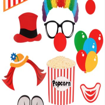 Clown mask Photo Booth Prop set, DIY Circus - PRA137