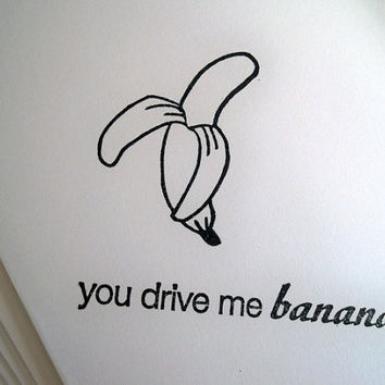 Banana Note Cards, Set of 5 Blank Note Cards, Hand Stamped, Handmade, Fruit Greeting Cards