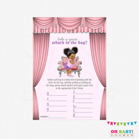African American Baby Shower, What's in the Bag Game, Pink and Lavender, Baby Shower Game Girl, Ethnic Baby Shower, Printable Download BBPSL