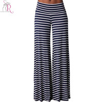 Navy Striped Wide Leggings Palazzos Mid Waist Loose Casual Long Pants Sportswear Streetwear 2016 Spring Women Clothing