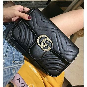 Gucci High Quality Fashionable Women Leather Metal Chain Double G Pearl Shoulder Bag Crossbody Satchel Black