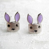Stainless Steel Bunny Earrings with Purple Ears