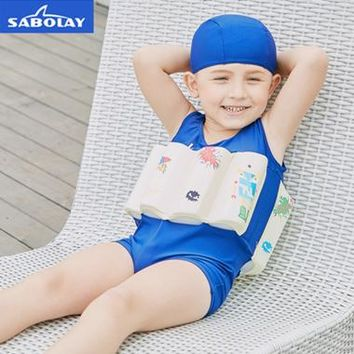 SABOLAY Boys Professional Buoyant Swimming Suits Cute Printed Children Swimwear Detachable One-Piece Training Floating Bodysuits
