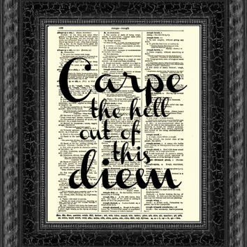 Carpe Diem Quote, Seize the Day Dictionary Print, New Year's Wall Decor Inspirational Art Print, Motivational Quote Graduation New Year Gift