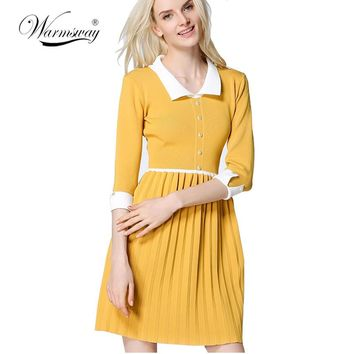 New Arrival Autumn Ladies Cute Knitting Dress Peter Pan Collar School Preppy Style Long Sleeve Mini Dresses WS-145
