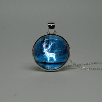 Silver Glass Necklace with Harry Potter Deer by cnhbigadventure