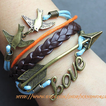 bronze swallow bracelet arrow bracelet love bracelet charm bracelet women or men bracelet-N530