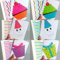 Birthday Greeting Card Set 6 Birthday Card Colorful Birthday Card Set Assorted Birthday Card Cheerful Birthday Wishes Fun Birthday Greeting