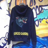 """Gucci"" Unisex Sport Casual Letter Wolf Head Pattern Embroidery Long Sleeve Hooded Sweater Couple Sweatshirt Tops"