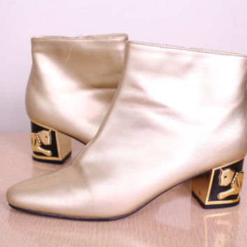SALE - 80s/90s - Metallic Gold - Faux Leather - Panther - Cat - Gold High Heel - Ankle Boots - Booties - Size 8 - Avant Garde