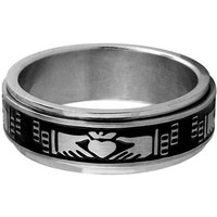 INOX Jewelry 316L Stainless Steel Claddagh Spin Ring