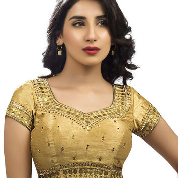 Traditional Diamond Embroidered Silk Sari Blouse SNT-KP-98-SL