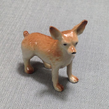 Miniature Ceramic Dog Chihuahua Animal Cute Little Tiny Small Brown Orange Beige Figurine Statue Decoration Hand Painted Collectible Display