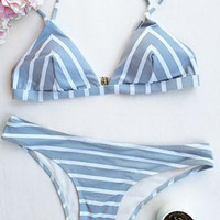 Cupshe Sea Of Me Stripe Bikini Set