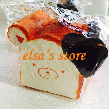 1pcs kawaii rare squishy jumbo for sale rilakkuma squishy toast slow rising squeeze toy with tags home decoration Free Shipping