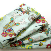 Cloth Napkins - Sets of 4 - Teal Pink Yellow Moose Deer Antlers Trees Woodland - Dinner, Table, Everyday, Wedding