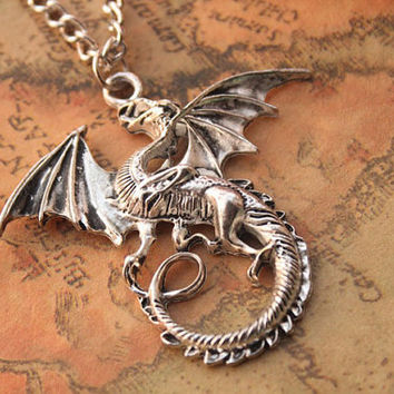 dargon necklace,retro silver dargon necklace---N103