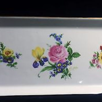 Rare c1910 Royal Danube Hand Painted Flowered Double Handle Serving Tray