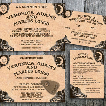 Ouija Invitation Suite for a Halloween Wedding - Printable Wedding Invitation, RSVP and Guest Information Card