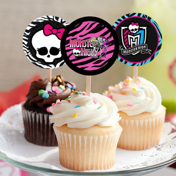 "Monster High Cupcake Toppers - Birthday Party - Favor Tags - Printable Instant Download - 2.25"" squares with 1.75"" circles"