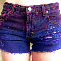 Ombre distressed shorts