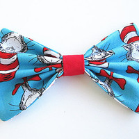 Dr. Seuss hair Bow, Bow Hair clip, Fabric Hair Bow, Big Hair Bow, Womens Hair Bow, barrette.