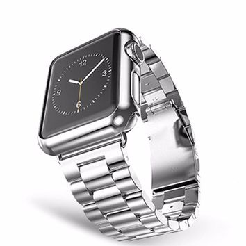 CRESTED Three bead  Stainless Steel Watch Band Strap for Apple Watch Band 42mm 38mm  for iwatch Watch Chain