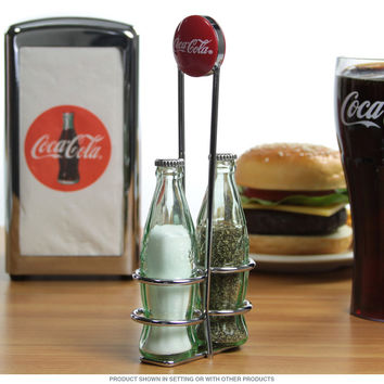Coca-Cola Bottle Green Salt and Pepper Shakers Rack
