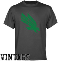 North Texas Mean Green Charcoal Distressed Logo Vintage T-shirt