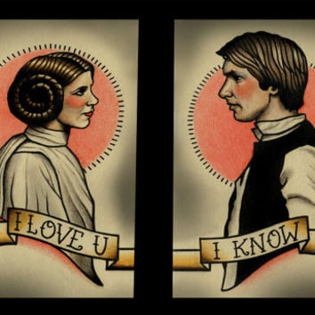 Double Prints Leia and Solo Art Print