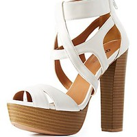 QUPID CAGED PLATFORM SANDALS