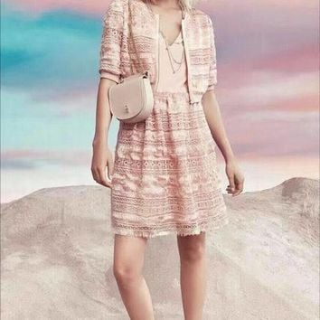 Chanel High - grade plush three - dimensional water - soluble flower short - sleeved two - piece dress